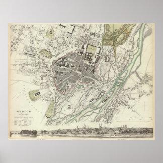 Vintage Karte von München Deutschland (1832) Poster