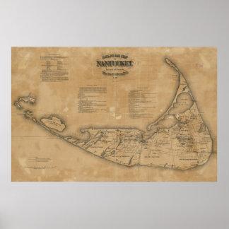 Vintage Karte von Nantucket (1869) Poster