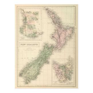 Vintage Karte von Neuseeland (1854) Postkarte