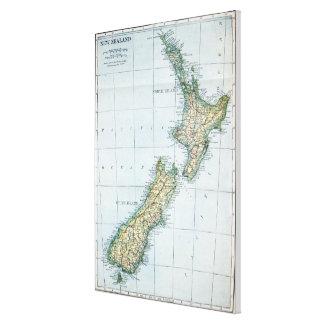 Vintage Karte von Neuseeland (1921) Leinwanddruck