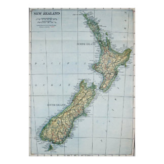 Vintage Karte von Neuseeland (1921) Poster