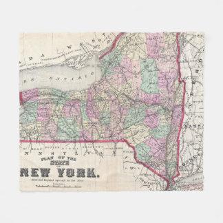 Vintage Karte von New York (1873) Fleecedecke
