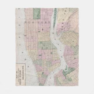 Vintage Karte von New York City (1873) Fleecedecke