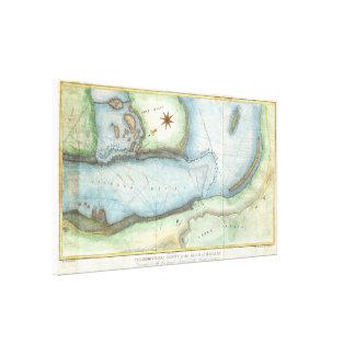 Vintage Karte von Niagara-Fall NY (1843) Leinwanddruck