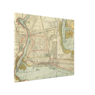 Vintage Karte von Niagara Falls NY (1893) Leinwanddruck
