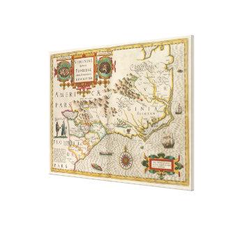 Vintage Karte von Nord-Carolina (1638) Gespannte Galeriedrucke