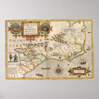 Vintage Karte von Nord-Carolina (1638) Poster