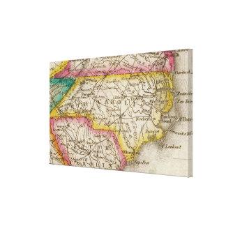 Vintage Karte von Nord-Carolina (1822) Leinwanddruck