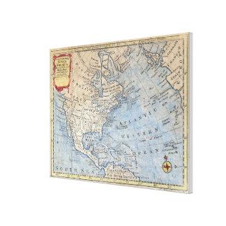 Vintage Karte von Nordamerika (1747) Leinwanddruck