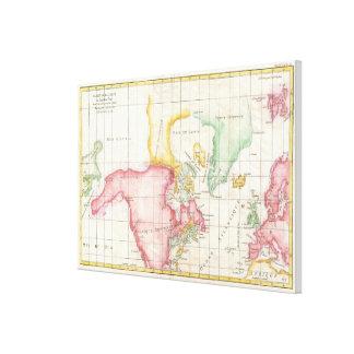 Vintage Karte von Nordamerika (1772) Leinwanddruck
