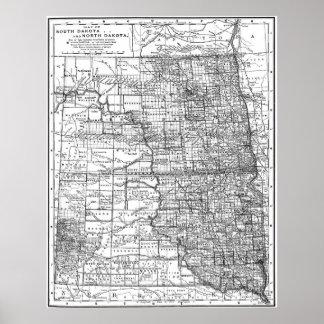 Vintage Karte von Norden und South Dakota (1891) Poster