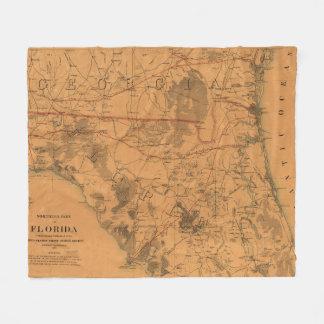 Vintage Karte von Nordflorida (1864) Fleecedecke