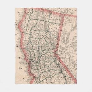 Vintage Karte von Nordkalifornien (1883) Fleecedecke