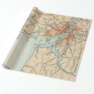 Vintage Karte von Norfolk und von Portsmouth VA Geschenkpapier