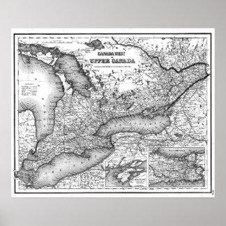 Vintage Karte von Ontario (1857) BW Poster