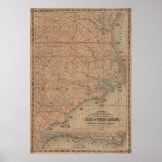 Vintage Karte von Ostnord-carolina (1862) 2 Poster