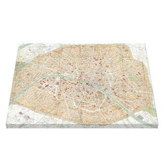 Vintage Karte von Paris (1892) Galerie Gefaltete Leinwand