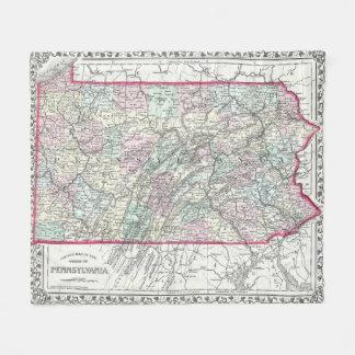 Vintage Karte von Pennsylvania (1874) Fleecedecke