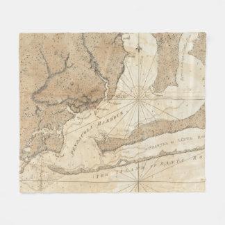 Vintage Karte von Pensacola Florida (1780) Fleecedecke