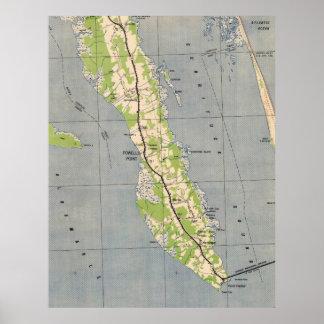 Vintage Karte von Powells Punkt Nord-Carolina Poster
