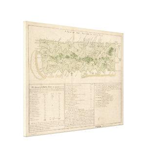 Vintage Karte von Puerto Rico (1760) Leinwanddruck