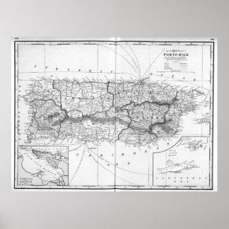Vintage Karte von Puerto Rico (1901) BW Poster