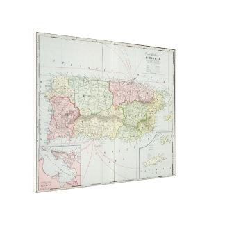 Vintage Karte von Puerto Rico (1901) Leinwanddruck