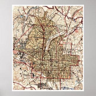 Vintage Karte von Raleigh Nord-Carolina (1940) Poster