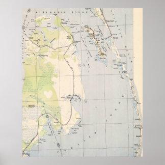 Vintage Karte von Roanoke-Insel u. von äußeren Poster