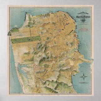 Vintage Karte von San Francisco (1915) Poster