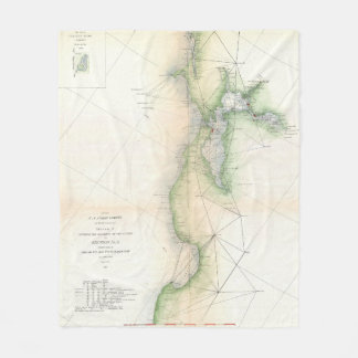 Vintage Karte von San Francisco Kalifornien (1865) Fleecedecke