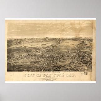 Vintage Karte von San Jose, 1869 Poster