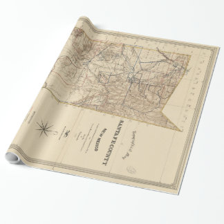 Vintage Karte von Santa Fe County Nanometer (1883) Geschenkpapier