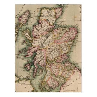 Vintage Karte von Schottland (1814) Postkarte
