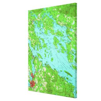 Vintage Karte von See Winnipesaukee (1956) Leinwanddruck