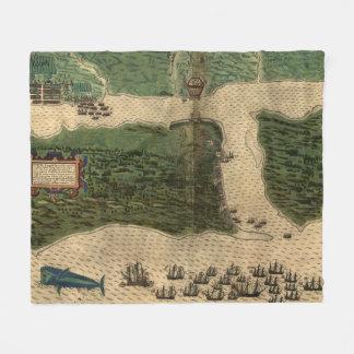 Vintage Karte von St Augustine Florida (1589) Fleecedecke