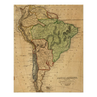Vintage Karte von Südamerika (1821) Poster