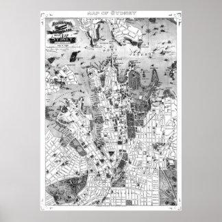 Vintage Karte von Sydney Australien (1922) BW Poster