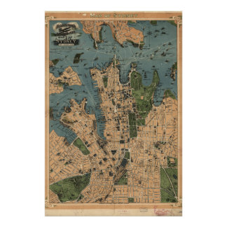 Vintage Karte von Sydney, Australien Poster