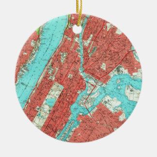 Vintage Karte von Uptown Manhattan u. Bronx (1956) Keramik Ornament