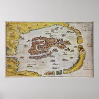 Vintage Karte von Venedig (1649) Poster