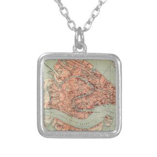Vintage Karte von Venedig Italien (1920) Halskette Mit Quadratischem Anhänger