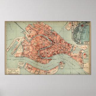Vintage Karte von Venedig Italien 1920 Plakate