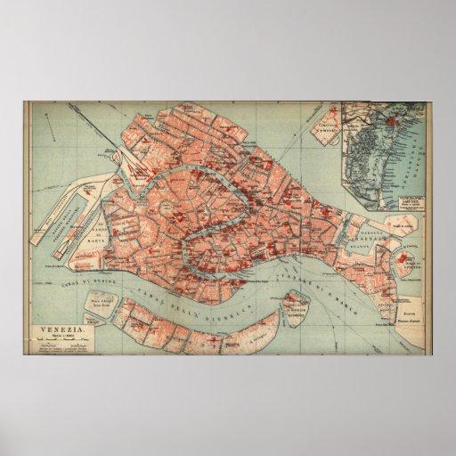 Vintage Karte von Venedig Italien (1920) Plakate