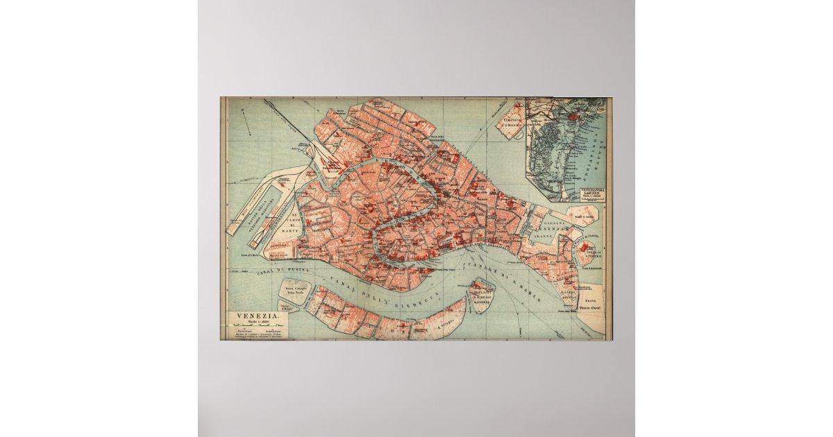 Vintage Karte von Venedig Italien (1920) Poster   Zazzle.de
