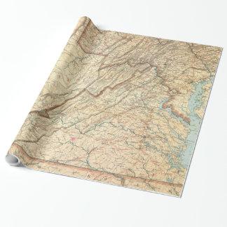 Vintage Karte von Virginia (1863) Geschenkpapier
