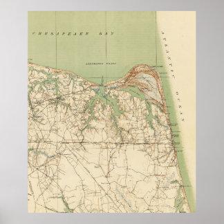 Vintage Karte von Virginia Beach u. von Kap Henry Poster