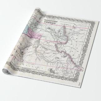 Vintage Karte von Washington, von Oregon und von Geschenkpapier
