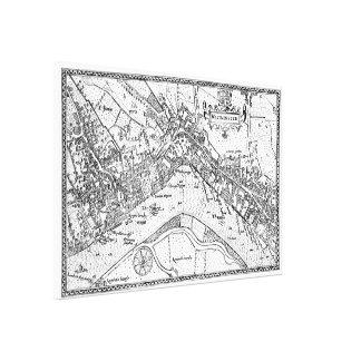 Vintage Karte von Westminster (1593) Leinwanddruck