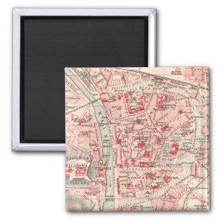 Vintage Karte von Würzburg Deutschland (1905) Quadratischer Magnet